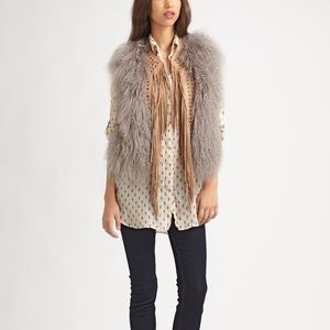💥NWT💥MiH jeans leather fringe sheepskin vest